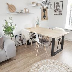 Living comedor, rustic industrial, future house, house tours, scandinavian home Nordic Furniture, Shabby Chic, Scandinavian Living, Modern Farmhouse Decor, Grey Walls, Decoration, Sweet Home, New Homes, Dining Table