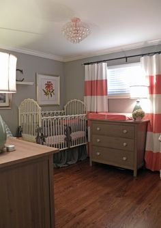 striped curtains and matching rose print. contemporary kids by Sarah Greenman striped curtains and Coral Nursery, Pink And Gray Nursery, Nursery Neutral, White Nursery, Bold Curtains, Striped Curtains, Nursery Curtains, Painted Curtains, Beige Curtains