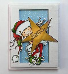 Christmas Cards Handmade   Christmas Elf with by RowhouseGreetings