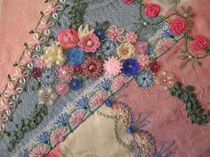 I ❤ crazy quilting . . .   Floral spray by Lin Moon