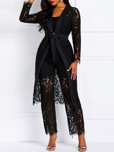 Plain Lace See-Through Straight Women's Two Piece Set