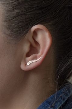 Silver Ear Cuffs Leaf Rose Gold Plated 925 door studiomirage