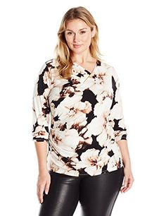 Calvin Klein Womens Plus Size Printed VNeck Top W Bar Latte Multi Cksp 0X *** More info could be found at the image url.