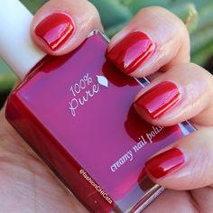 Can you believe that this is only 2 coats of our #10Free nail polish?! @fashionCHICsta started with 1 coat of Horsetail Base Coat followed by 2 quick-drying coats of Cherry Pop. This tart, plummy red levels evenly to a streak free finish. click the link above and treat yourself today! ❤️ #nails#notd#CherryPop#10Free#vegan#VeganBeauty#100pure#100percentpure#nailpolish#naillacquer#rednails#cherrynails#linkinprofile