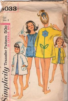 Simplicity 6033 1960s GirlsPlaysuit and Hooded Beach Coat with Flower Applique Transfer childs vintage sewing pattern by mbchills