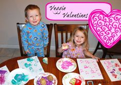 Veggie Valentines - Coffee With Us 3:   Paint-stamping with potatoes and celery!