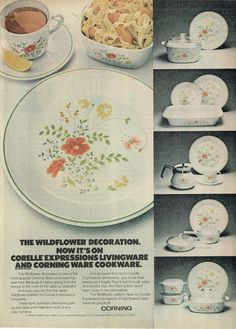 1978 Advertisement for Corelle and Corning Ware Corningware Wildflower Pattern Livingware Cookware Kitchen Collector Vintage Ad Art Decor Vintage Dishes, Vintage Ads, Vintage Kitchen, Vintage Advertisements, Corningware Vintage, Corelle Patterns, Corelle Dishes, Certificate Frames, Corning Glass