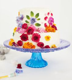 Easy way to DIY abstract floral pattern cake
