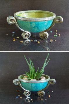 Pot de fleur en céramique, grande raku grand planteur, grand vase pour plantes succulentes, grande tasse en céramique, grand vase turquoise. fabriqué sur commande ! Vous pouvez choisir la couleur de que votre choix en choisissant parmi les options sur le côté. Son nom est «