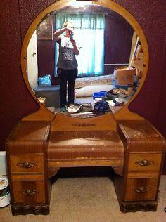 vintage vanity with round mirror. Restored antique vanity  Vanity Pinterest Antique and Vanities