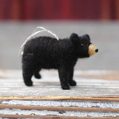 NEW for 2013! Small Black Bear Cub - Needle Felted Christmas Ornament - so cute I love black bears