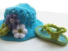 crochet-flip-flops-and-hat-set#diy #crafts crochet