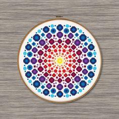 Dot Mandala PDF Cross Stitch Pattern - rainbow colored dot and circles, inspired by rock art and mandala art