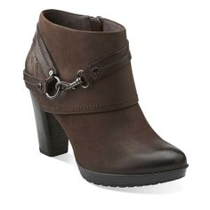 Lida Piper in Dark Brown Nubuck - Womens Boots from Clarks