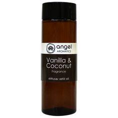 Vanilla Coconut 200ml Diffuser Refill Reed Oil by Angel Aromatics | 200ml Diffuser Reed Oil - Refill. The product link is http://www.angelaromatics.com.au/all/Vanilla-Coconut-Diffuser-Reed-Oil-Refill-200ml