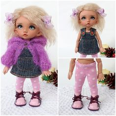 """NEW! OOAK outfit """"Jeans and lilac shades"""" with shoes, for PukiFee, Lati Yellow by TashkasBears on Etsy"""