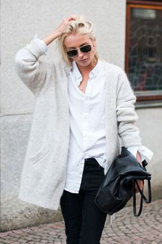 MINIMAL + CLASSIC: Ellen Claesson Is Wearing Black Jeans from Dr Denim, White Shirt From H&M, Light Grey Cardigan From Acne And Bag From Zara