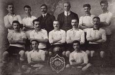 "Cadi-Keuy Football Club: 1905-1906 Champion Squad.  The Cadi-Keuy FC existed from 1899-1912.  From left to right standing: Temistol Moisiyadis, Cinon Poliheroniadis, Yani Vasiliadis, James Lafontaine, Todori, Anthony Darny. Middle row, left to right: ""Bobby"" Fuat Hüsnü Kayacan, Dick Lafontaine, Horace Armitage, Nicholas Darny, Yorgo Yerasimidis. Sitting, left to right: Mihal Yerasimidis, Toto Stelyanidis, with their championship shield."