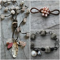 Leather Infinity Links Video Workshop by Tracy Statler Leather in accessories is hot, hot, hot! I think I& said this before, b. Beaded Anklets, Beaded Jewelry, Handmade Jewelry, Beaded Bracelets, Button Bracelet, Leather Necklace, Diy Necklace, Leather Jewelry, Leather Bracelets