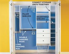 How to Organize Your Closet: Custom Designed Closet Storage -   Expert planning advice and step-by-step instructions for making every inch of storage count.    Step 1: Overview  Step 2: Sketch out a master plan  Step 3: Get your closet ready to go