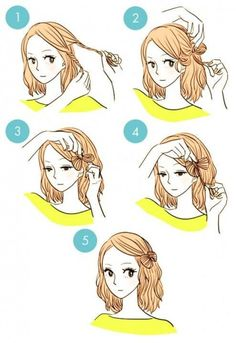DIY tutorials on how to style your hair in 3 minutes. Quick and easy hairstyles. Techniques to style your hair and look elegant in no time. Everyday Hairstyles, Pretty Hairstyles, Cute Hairstyles, Hairstyle Short, Wedding Hairstyles, Quick Hairstyles For School, Kawaii Hairstyles, Blonde Hairstyles, Layered Hairstyles