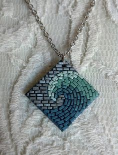 Midnight Seafoam Wave Mosaic Necklace by AlyssaMakesMosaics