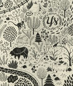 Teagan White Illustration...in LOVE with her charming creativity! Surface Design, Textile Design, Typography Design, Print Patterns, Graphic Illustration, Forest Illustration, Pattern Design, Printmaking, Illustrations Posters