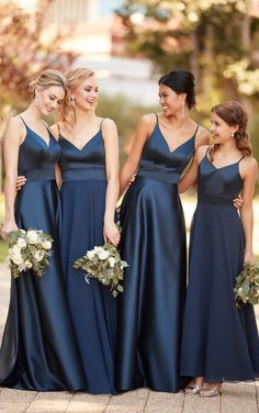 Courtesy of Sorella Vita bridesmaids dresses; 9168 Modern Satin Bridesmaid Dress by Sorella Vita Sorella Vita Bridesmaid Dresses, Navy Bridesmaids, Navy Blue Bridesmaid Dresses, Wedding Bridesmaid Dresses, Wedding Attire, Bridesmaid Outfit, Dress Wedding, Wedding Ceremony, Marine Uniform