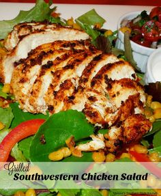 For a lighter take on Spanish food try this Grilled Southwestern Chicken Salad. The spice rubbed chicken is grilled to perfection and then served on top of fresh chilled greens. Add roasted corn and pico de gallo for the crowning touch.