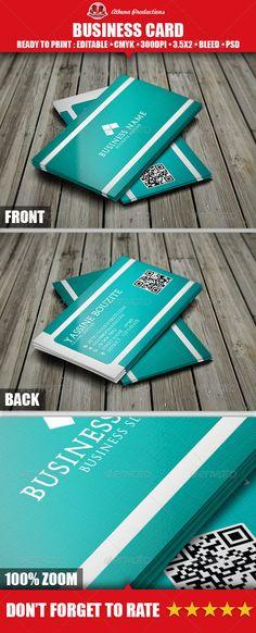 cyan corporate business card design - #graphic #design