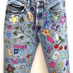 Browse unique items from HAMELWOOD on Etsy, a global marketplace of handmade, vintage and creative goods. Painted Jeans, Painted Clothes, Hand Painted, Diy Jeans, Vintage Levis, Levis 501, Diy Clothing, Custom Clothes, Denim Kunst