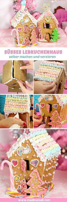Lebkuchenhaus Rezept: Lebkuchenhäuser backen und verzieren in pink  ie Weihnachtszeit ist die absolute Lebkuchenzeit! Deshalb gibt es für euch heute ein Rezept für ein selbstgemachtes Lebkuchenhaus:  Das Rezept für mein Lebkuchenhaus ist wirklich super easy, denn es orientiert sich an meinem Lebkuchen-Rezept von letzter Woche. Backen ist sowieso eines meiner liebsten DIYs und wenn dabei dann noch so etwas mega tolles raus kommt, was man selbst verzieren kann – juhuu!