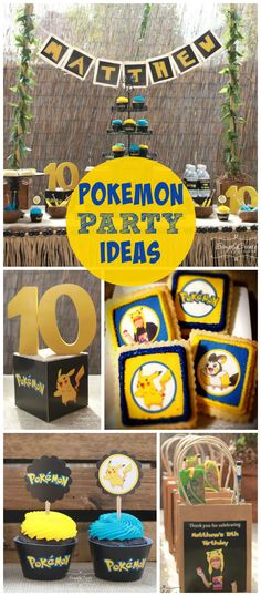 A Pokemon boy birthday party with a fun dessert table, favor bags and laser tag! See more party planning ideas at CatchMyParty.com!
