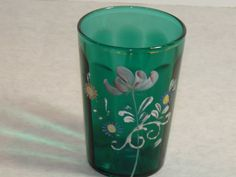 """ca 1910 Bottle Green Optic Convex Panel Enameled Floral Decorated 4"""" TUMBLER #VictorianArtNouveau #unknown"""