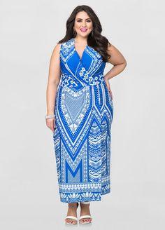 Printed Faux Wrap Maxi Dress Printed Faux Wrap Maxi Dress