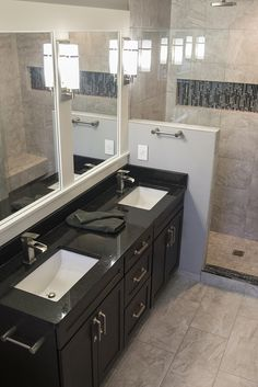 Double vanity bathroom featuring the Studio II cabinet hardware pulls in satin nickel. Hardware Pulls, Cabinet Hardware, Vanity Bathroom, Double Vanity, Satin, Flooring, Studio, Kitchen, Home