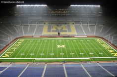 Gorgeous night shot of Michigan Stadium (The Big House) by Bare Bones Detroit via Flickr
