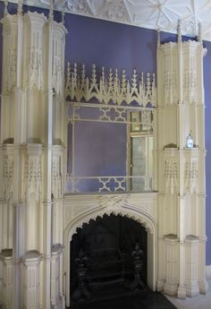 Chimney piece in the Holbein Chamber, modelled on an archbishop's tomb, Strawberry Hill House. Gothic Revival