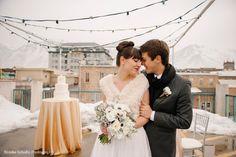 modern rooftop wedding, rooftop wedding, black grey white wedding flowers, gold silver winter wedding, gold silver wedding