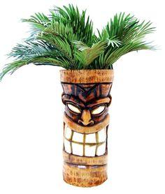 Hollow out logs for me. Shave off the bark. And voila. I carve tiki faces into them. We sell as planters. Hawaiian Decor, Hawaiian Tiki, Tropical Backyard, Tropical Decor, Arte Bar, Tiki Totem, Tiki Tiki, Tiki Hawaii, Tiki Head