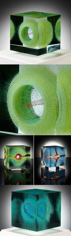 Optical Float Paintings Suspended in Layers of Glass by Wilfried Grootens