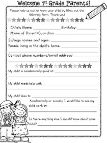 http://www.teacherspayteachers.com/Product/General-Information-Sheets-for-the-First-Day-of-School-1350610