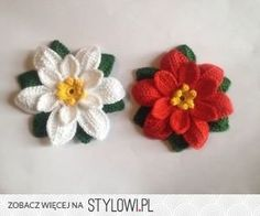 2 Handmade Crochet Christmas Flowers Appliques | eBay na Stylowi.pl