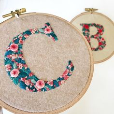 """3,113 Likes, 27 Comments - CREAMENTE • embroidery • (@defnegunturkun) on Instagram: """"Floral letters . . . #embroidery #letters #floralembroidery #monogram #initials #handstitched…"""""""