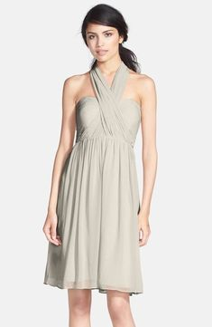 Jenny Yoo KEIRA Convertible Strapless Chiffon Dress DOVE GREY SIZE 10  357  NWT  JennyYoo 9b4ce9219