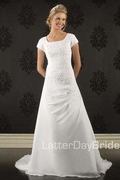 Prom dresses A-Line/Princess Square Chapel Chiffon Satin Modest Wedding Dresses - £ : Wedding Dresses Lds, Cheap Wedding Dress, Bridal Dresses, Modest Dresses, Prom Dresses, Beauty Pageant Dresses, Beautiful Dresses, Marie, Outfit