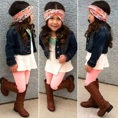 kids fashion #girl #outfit...is it sad that I have that exact headband!? Lolololol