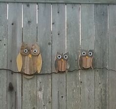 Fence Board Owls - my Hooterville.  Thanks for the pattern and the fence boards Jackie !!