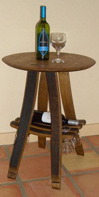 Bistro table made from a wine barrel