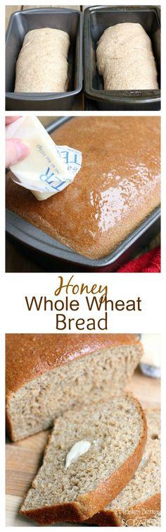 My favorite Honey Whole Wheat Bread with a scoop of Greek yogurt to keep it extra moist! Recipe on TastesBetterFromScratch.com